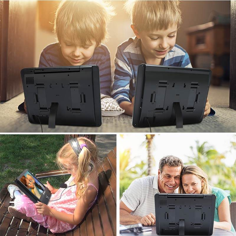 "12"" Dual-screen Headrest Mount DVD Player With Clamshell Design Supports USB/SD/MMC Playback"
