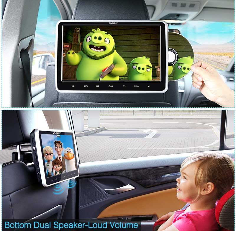 "Headrest Monitors Portable DVD Player for Car 10.1"" Inch HD Screen With Customized Headrest Mount Holder"