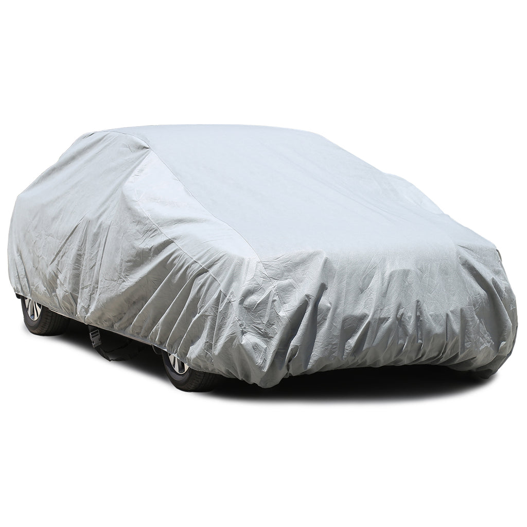 Waterproof Car Cover Universal Windproof All Weather Snow Covers, for Summer Outdoor, Car Covers for Sedan Auto Automobiles, Free Windproof Ribbon & Anti-theft Lock