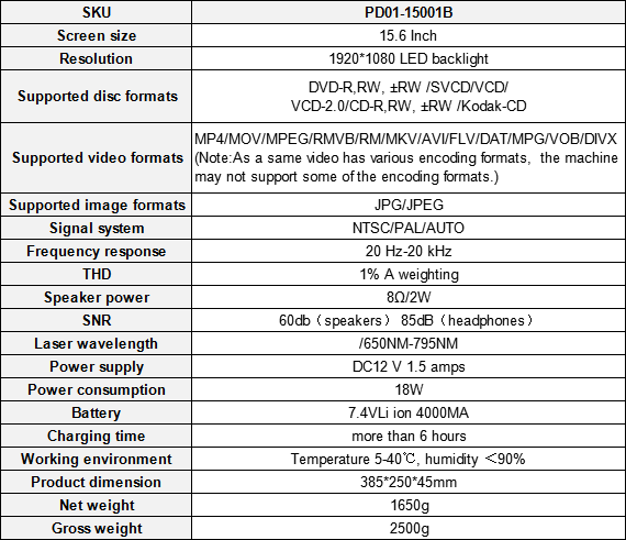 15.6 Inch Big Screen Portable DVD Player Specs