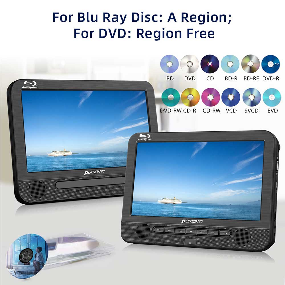 10.1 Inch Blue Ray Car DVD Player Dual Screen With Clamshell Design and Support USB/SD/MMC Playback