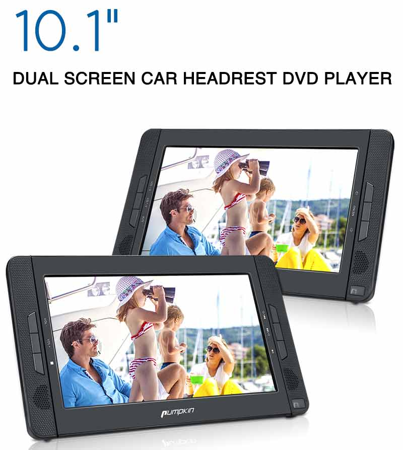 "10.1"" Dual Screen DVD Player Ultra-thin Car Backseat Headrest Portable DVD Player with Built-in Rechargeable Battery, USB Port, SD Card Slot, Remote Control (Clearance)"