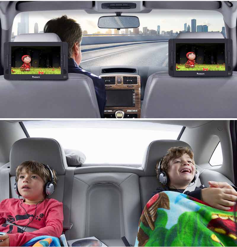 """10.1"""" Dual Screen DVD Player Ultra-thin Car Backseat Headrest Portable DVD Player with Built-in Rechargeable Battery, USB Port, SD Card Slot, Remote Control (Clearance)"""