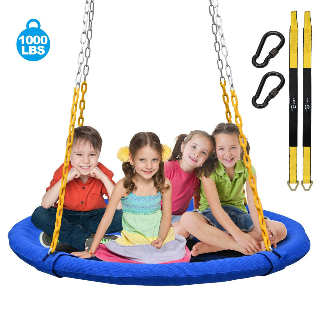 1000lb 40 Inch  RV Resistant and Non-Fading Textilene fabric Saucer Tree Swing for Kids Adults with Heavy Duty Chain