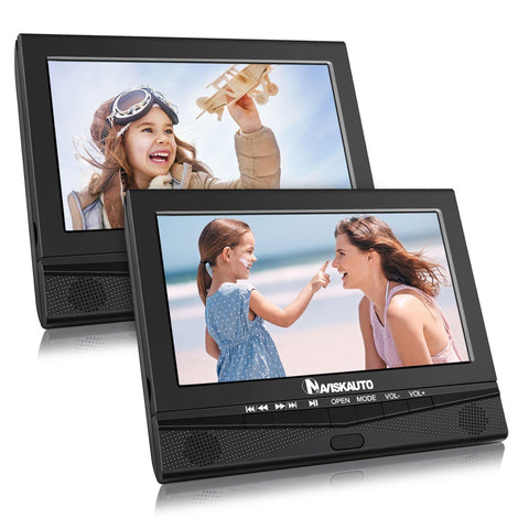 "10.1"" Dual Screen Car DVD Player with Rechargeable Battery Support 5 Hours, Sync Screen, Last Memory, Region Free, USB SD (2 X Portable DVD Players)"