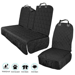 Waterproof Front and Rear Car Seat Pet Cover with Strong Straps and Buckles, Anti-Scratch, Anti-Static, Anti-Stain