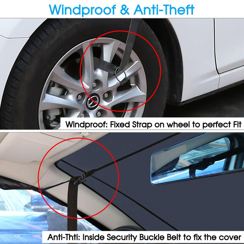 KAKIT Windshield Cover with 2 PCS Mirror Covers, Windshield Snow Covers for Ice and Snow, Waterproof Universal Winter Car Windshield Protector for Automobiles Sedan