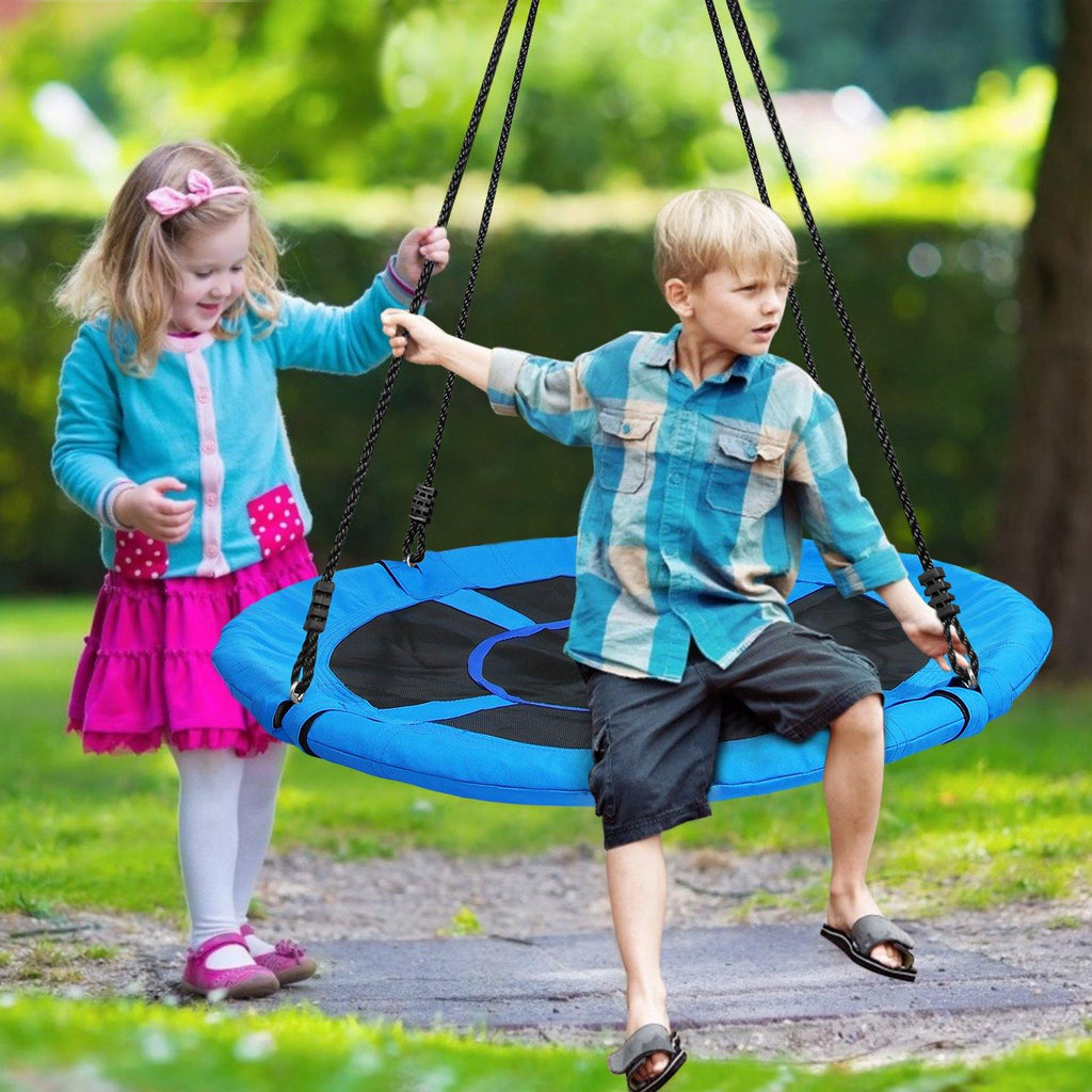700lb 40 Inch Saucer Tree Swing for Kids Adults 900D Oxford Waterproof with Swivel, 2pcs 10ft Tree Hanging Straps, Steel Frame and Adjustable Ropes-Blue