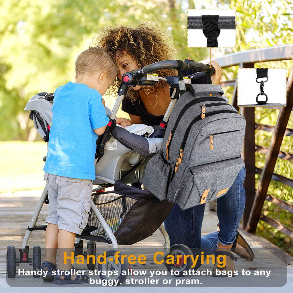 Vanku Large Multifunction Diaper Bag Backpack for Travel with Changing Pad, Stroller Straps, RFID Blocking Pockets, Fashion and Durable, Gray