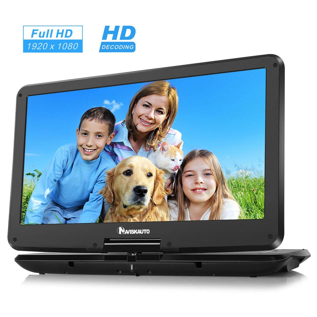 15.6 Inch Big Screen Portable DVD Player with 1920×1080 HD Swivel IPS Screen and 4000mAh Rechargeable Battery