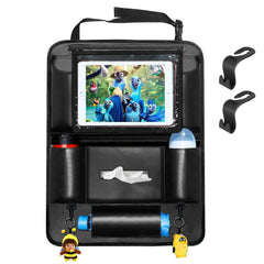 Car Seat Organizer Leather for Kids, Automotive Back Seat Organizer Storage Bag with Protector Pocket for iPad, Tissue