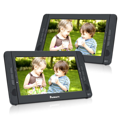 "10.1"" Dual Screen Portable DVD Player with 5-Hour Built-In Rechargeable Battery, Support Last Memory (Master DVD Player+Slave Monitor)"
