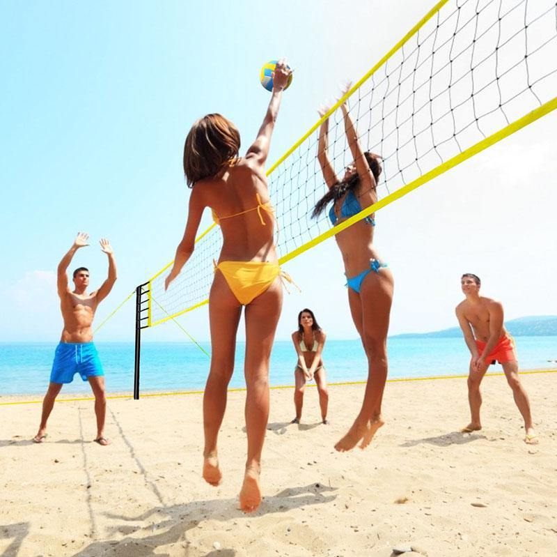 32' L x 3' H Portable Volleyball Net Sets with Stand Carry Bag, Folding Volleyball Net – Easy Setup for Outdoor/Indoor Court (Yellow)