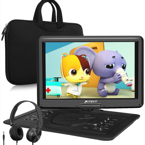 Portable DVD Player Set with 16'' Screen Carry Bag Headphones Rechargeable Battery HDMI Input Function, AV IN&OUT USB SD