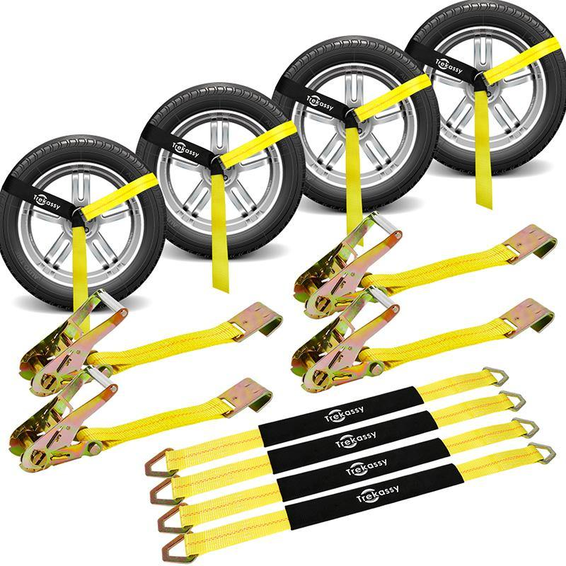 2in x 10ft Yellow Classic Auto Car Rim Tie Down (set of 4pk straps and ratchets with Flat Hook ) 10,000Lb Max Break Strength