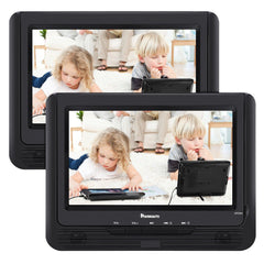 "Naviskauto 9"" Portable DVD Player for Kids Dual Screen with Car Headrest Mount Straps, 5 Hour Rechargeable Battery, USB/SD Card Slot"