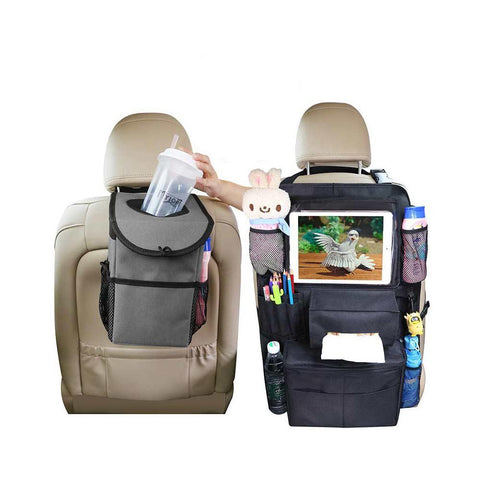 Car Trash Can and Car Seat Organizer with Cooler Bag Bundle - Leakproof Car Garbage Can with Lid, Storage Pockets & Backseat Organizer with Cup Tissue and Tablet Holder,2 Hooks Included