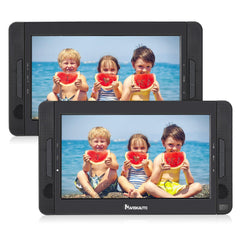 "10.1"" Dual Screen Portable DVD Player with 5-Hour Built-In Rechargeable Battery, Support Last Memory, Region free"