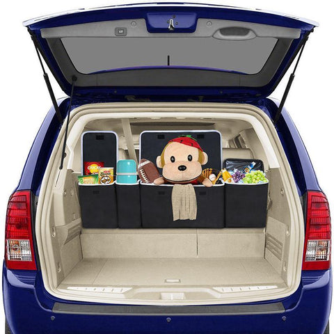 Trunk Organizer For Car with Cooler Insulated, Trunk Organizer for SUV Van Cargo Storage, Collapsible Car Back Seat Organizer, Road Trip Accessories