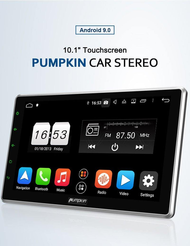 Pumpkin 10 Inch Universal infotainment Stereo Radio Android 9.0 with car radio, Bluetooth, GPS, Steering Wheel Control, Phone Mirroring