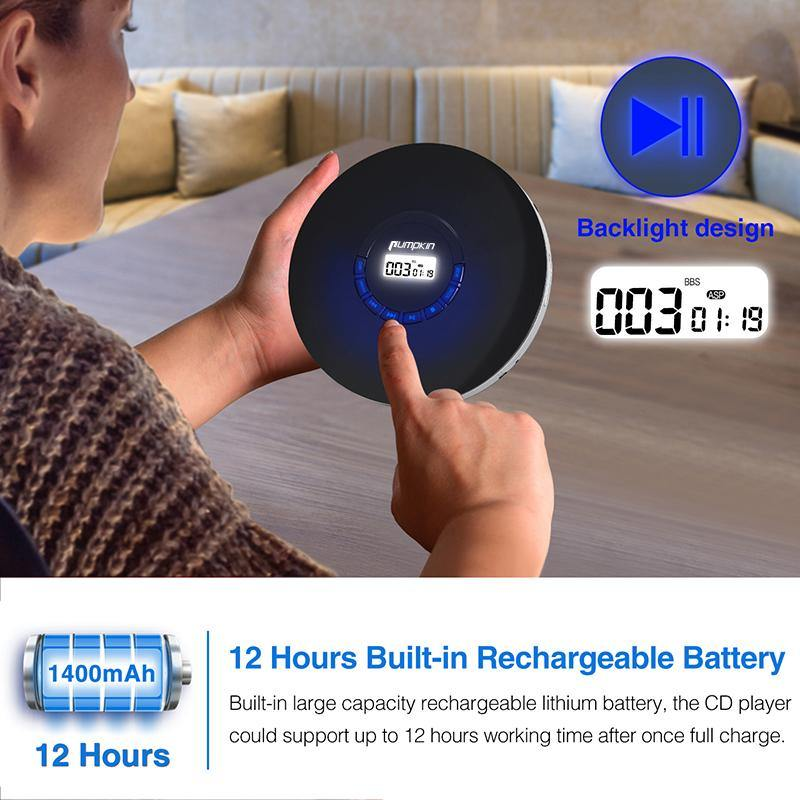 Portable Music CD Player with Free Headphones, 12 Hours Rechargeable Battery, Support Super Anti-shock, Multiple Audio Formats