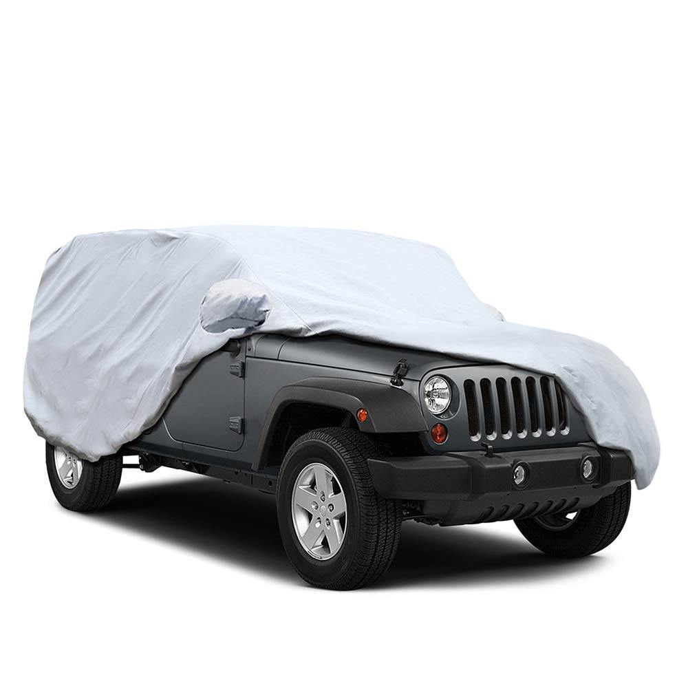 5 Layers Jeep Cover for Jeep Wrangler 4 Door 2007-2017, Waterproof Dustproof All Weather Prevention Car Cover for Jeep, Windproof Ribbon & Anti-theft Lock