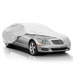 "Outdoor Car Cover 6 Layers Cover Auto - Durable Windproof Waterproof for Indoor Outdoor, All Weather Cover for Car Automobiles, Windproof Ribbon & Anti-theft Lock, Fits 200"" - 229"""