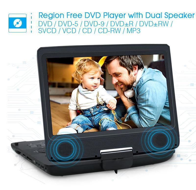 10.1 Inch Portable DVD Player with 1024×600 Swivel & Tilt Screen,  Wired Foldable Headsets, Built-in up to  5 Hours Rechargeable Battery