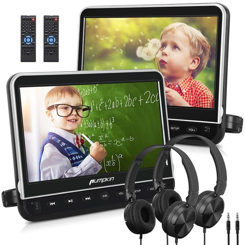 "10.1"" Car DVD Player with Dual 1080P HD Screens, 2 Headrest Brackets and 2 Headphones"