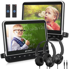 Dual DVD Player For Car 10.1 Inch 1080P HD Clamshell Headrest With 2 Headphones And Remote Controls