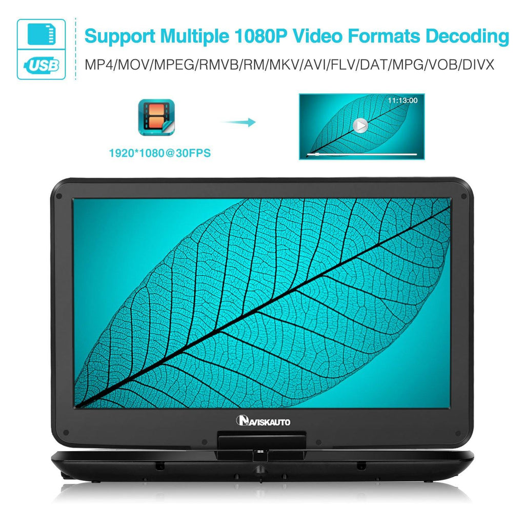 15.6 Inch Big Screen Portable DVD Player with 1920×1080 HD Swivel IPS Screen