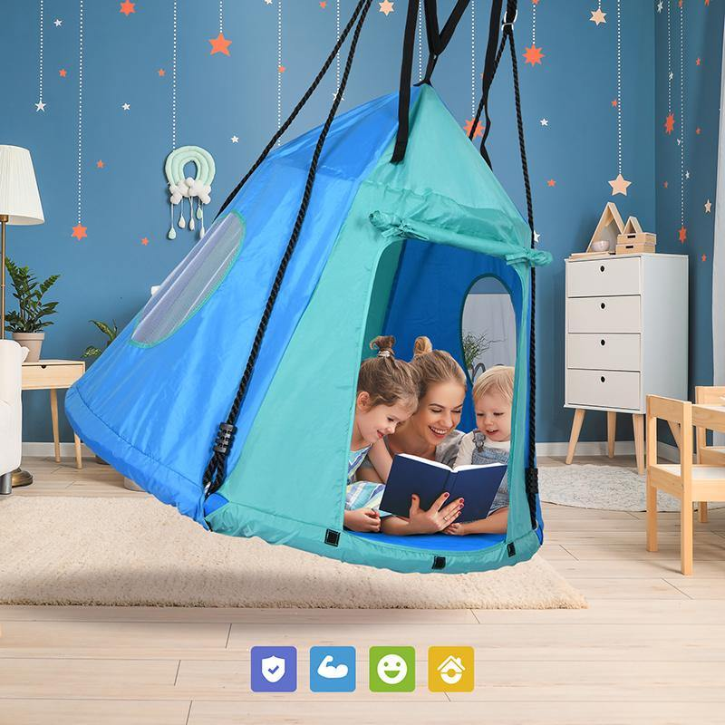 "45"" Detachable Textilene Fabric Hanging Tent Swing"