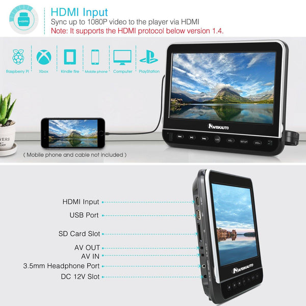 10 1 Inch Headrest Car DVD Player TFT LCD Screen with Front Clamshell  Design, HDMI Input, Remote Control and Headphone