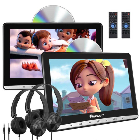 Dual Headrest DVD Player 10.1 Inch Ultra-thin HD Display For Kids With Wired Headphones And Region Free