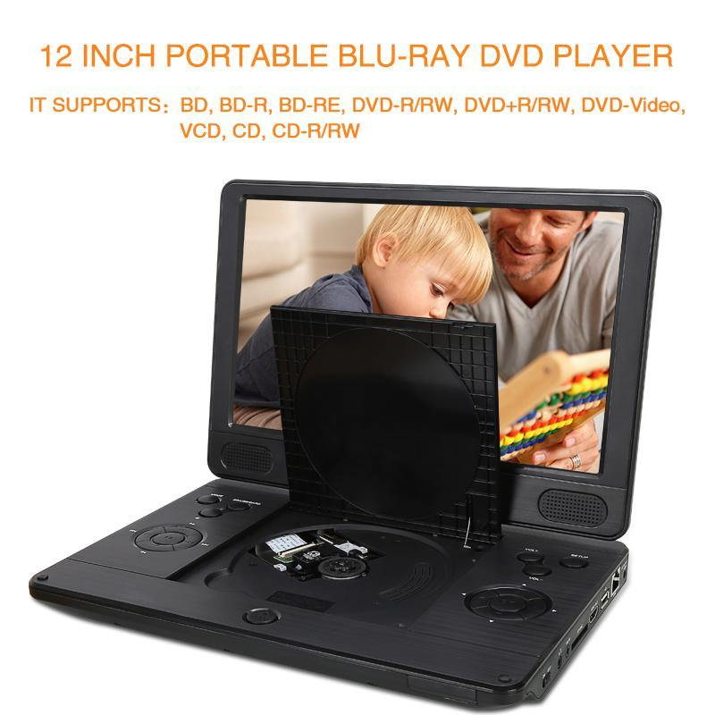 12 Inch Portable Blu Ray DVD Player with 4000mAh Rechargeable Battery and 1024×600 Swivel Screen Support HDMI Out, AV in, Dolby Audio, 1080P HD, USB