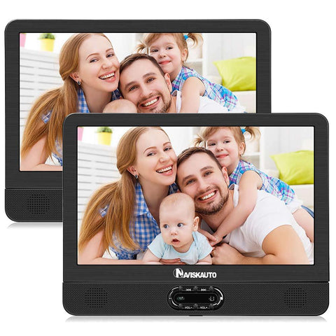 "Naviskauto 12"" Dual Portable DVD Player For Car With Clamshell Design And Built-in Rechargeable Lithium Battery"
