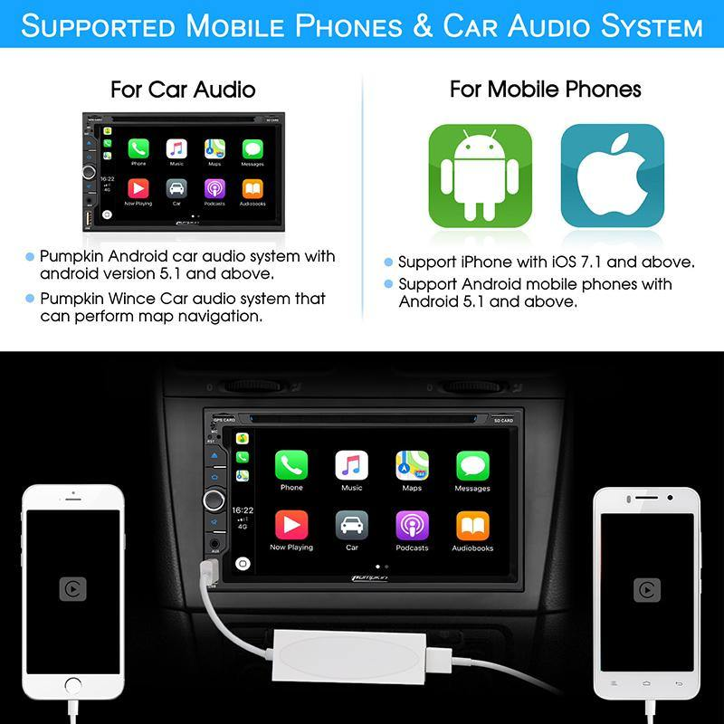 USB AutoPlay Dongle Connect Android Auto PUMPKIN Car Stereos, iPhone Android Phone, Free 8GB SD Card Included