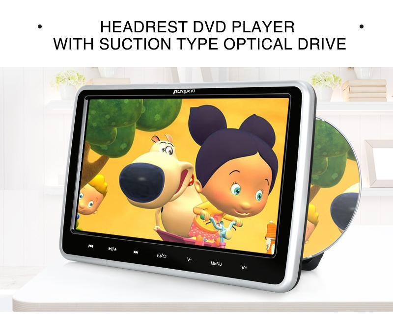 10.1 Inch Car Headrest Suction Design DVD Player Touch Buttons Monitors, with Headrest Mount Holder and Remote Control