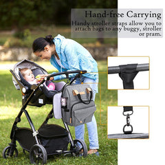 All-in-one large waterproof diaper bag with RFID blocking security, side pockets, and bottle holder