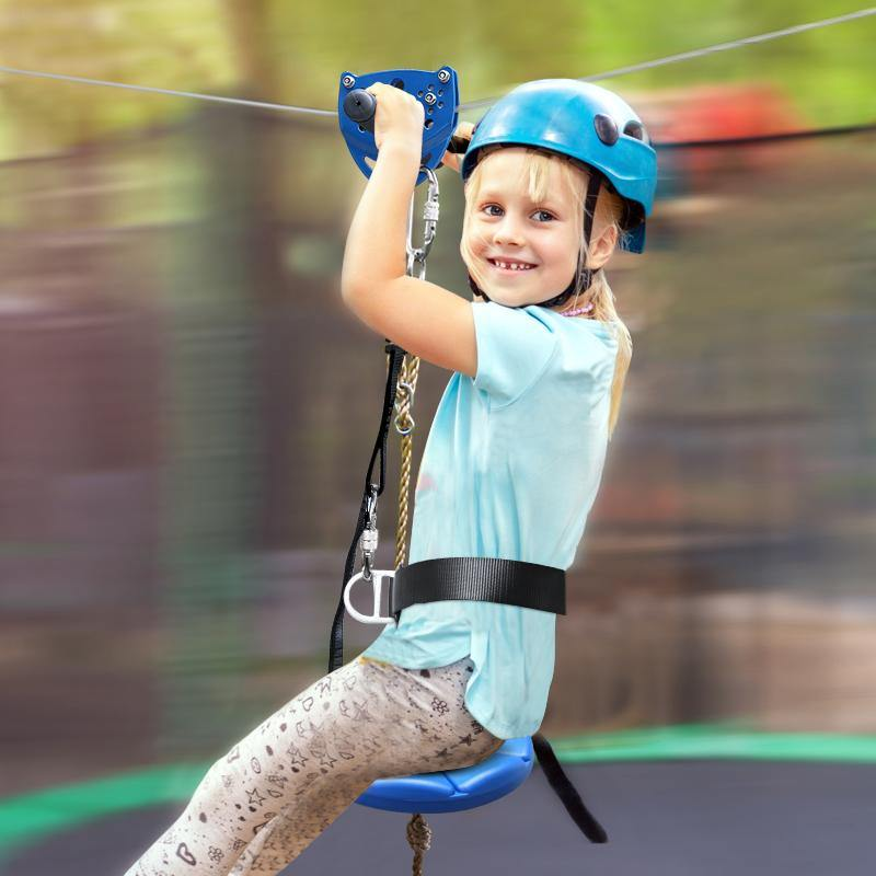160ft Satinless Steel Kids Backyard Zipline Kit With Seat