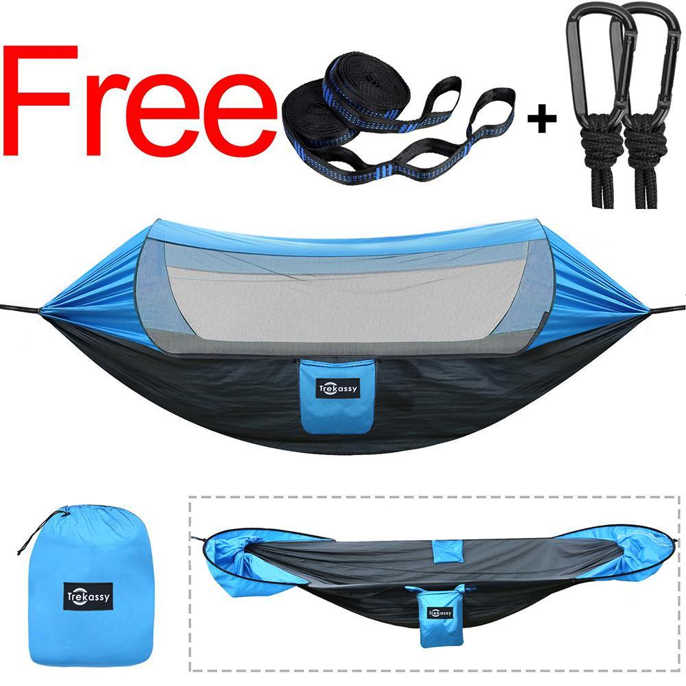 Double Camping Hammock with Mosquito Net and Sunscreen Cover, Fully-opened, Outdoor Windproof, Sunscreen Shelter, with adjustable Tree Straps, Swing Sleeping Hammock for Backpacking, Camping, Travel, Outdoor, Hiking, Beach.