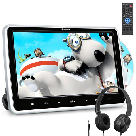 "10.1"" Car DVD Player with HD Monitor and Touch Buttons, Foldable Headsets, USB/SD, Region Free"