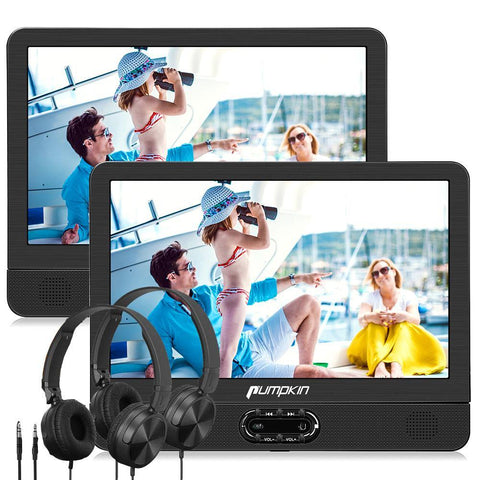 "12"" Portable DVD Player with an Extra Screen and 2 Car Headrest Straps, Supports USB/SD Playback"