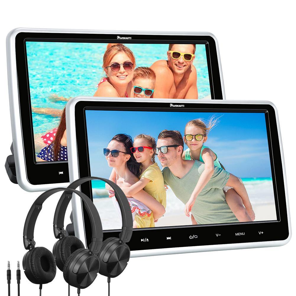 2 Pcs 10.1 Inch suction type Car Headrest DVD Player  with 2 Pcs Universal Wired Foldable Headsets