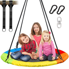 700lb 40 Inch Saucer Tree Swing for Kids Adults with 900D Oxford Waterproof Material, 2pcs 10ft Tree Hanging Straps, Steel Frame and Adjustable Ropes