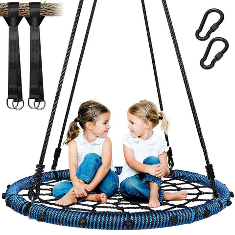 "40"" Spider Web Tree Swing with 71"" Adjustable Hanging Ropes, Max 660 LBS, Great for Park Backyard Outdoor"