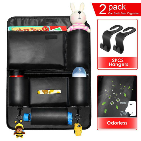 "Waterproof Car Seat Back Organizer PU leather, Car Back of Seat Storage Organizer Protector Pocket(22.2""x17), 2 Pcs Hangers Included"