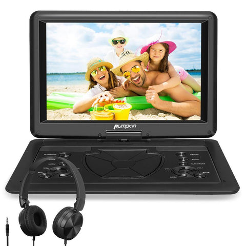 Portable 16'' HD Big Screen DVD Player with Built in 5000 mAh Battery and Universal Headset, Support USB/SD AV IN&OUT HDMI IN