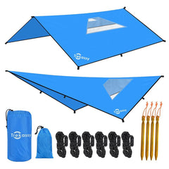 Trekassy 10x10ft Hammock Waterproof Rain Fly Tent Tarp with two skylights