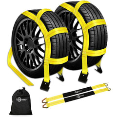 "Trekassy Wheel Net Car Tow Dolly Straps with Flat Hooks 2 Pack Heavy Duty for 14""-17"" Tires Include 2 Axle Straps and 1 Carrying Bag"
